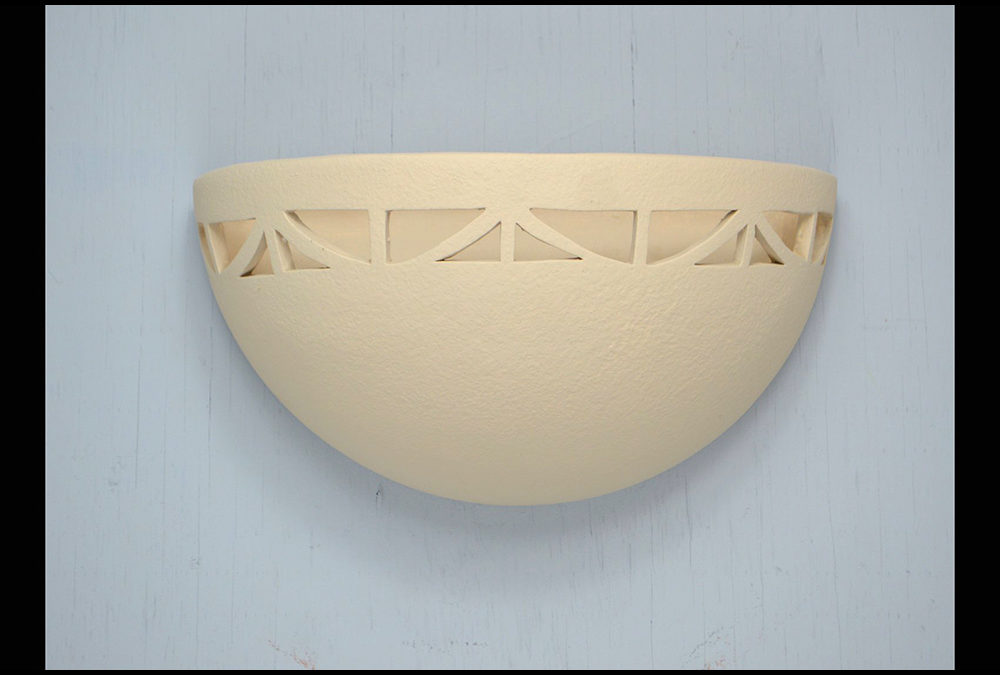 Art Deco Border-Antique White-Indoor Only-Uplight Small Bowl Sconce