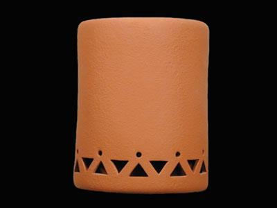 """9"""" Open Top - Tribal Drum Border Design, in Terracotta color - Indoor/Outdoor"""