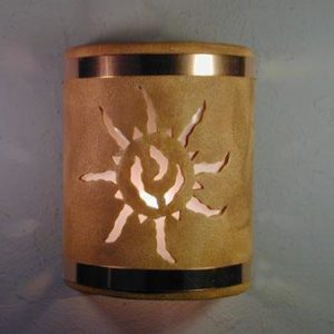 "9"" Open Top - Ancient Sun Design w/Copper Metal Bands in Sand Wash color - Indoor/Outdoor"