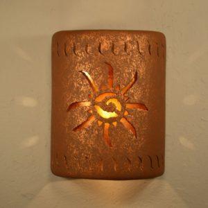 "9"" Open Top - Ancient Sun Design w/Wind Border Design and Amber Mica Lens, in Rust Mica color - Indoor/Outdoor"