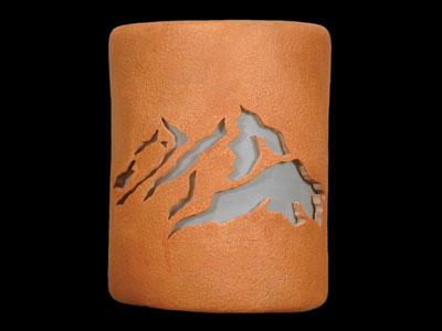 "9"" Open Top - Peaks Design in Clay Wash color - Indoor/Outdoor"