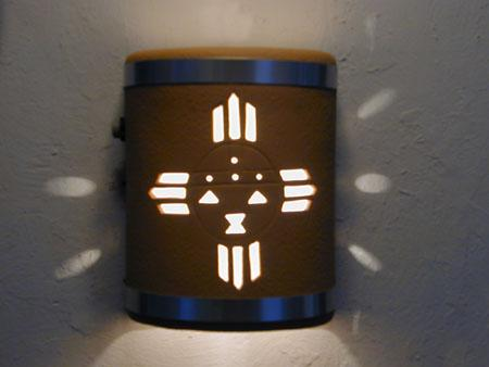 """9"""" Open Top - Kachina Design w/Stainless Steel Metal Bands, in Brown color & Dusk Till Dawn Sensor - Indoor/Outdoor"""