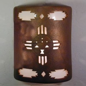 "9"" Open Top - Kachina Design  w/Aztec Border Design, in Antique Copper color - Indoor/Outdoor"