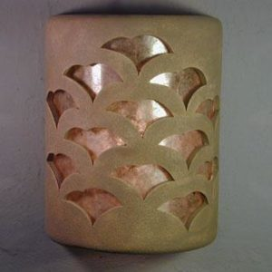 "9"" Open Top - Gingko Design w/Silver Mica Lens, in Taupe Wash color - Indoor/Outdoor"