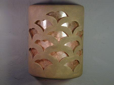 """9"""" Open Top - Gingko Design w/Silver Mica Lens, in Taupe Wash color - Indoor/Outdoor"""