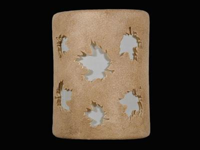 """9"""" Open Top - Maple Leaves Design, in Parchment color - Indoor/Outdoor"""