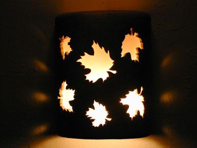 "9"" Open Top - Maple Leaves Design, in Parchment color - Indoor/Outdoor"