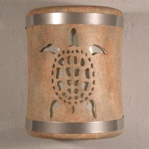"9"" Sea Turtle Design and Stainless Steel Metal Bands-Sandstone color-Indoor/Outdoor-Open Top"