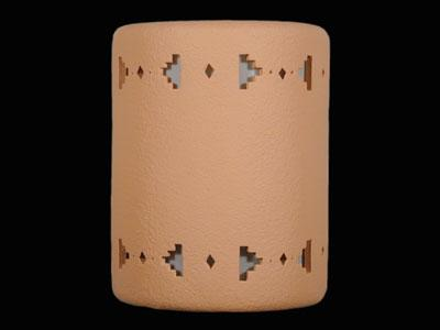 "9"" Open Top - Sandia Band Border Design in Apricot color - Indoor/Outdoor"