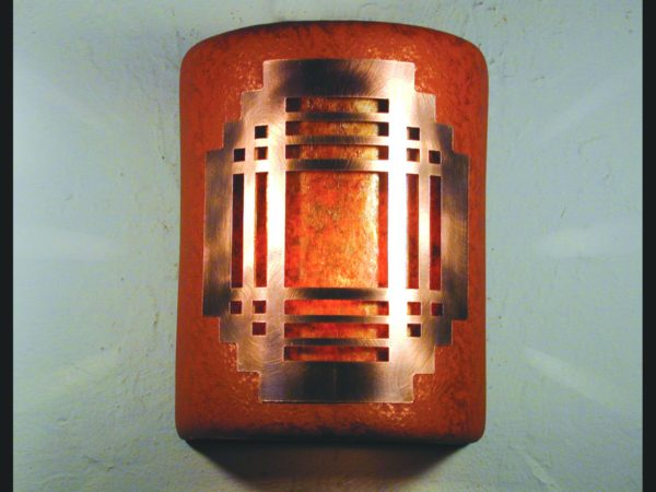"9"" Open Top - Mission Copper Cover w/Amber Mica Lens, in Red Mica color - Indoor/Outdoor"