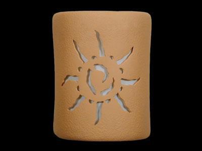 """9"""" Open Top - Ancient Sun Design, in Brown color - Indoor/Outdoor"""
