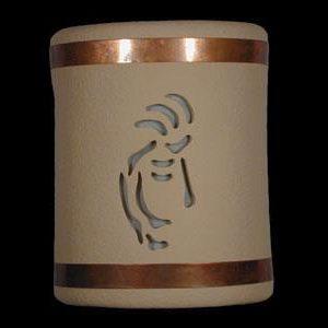 Open Top-Kokopelli Design w/Copper Metal Bands-Tan color-Indoor/Outdoor