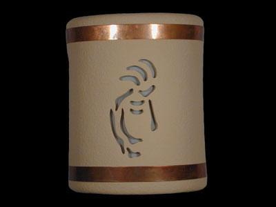 Open Top-Kokopelli Design w/Copper Metal Bands-Tan color-Indoor/Outdoor