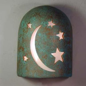 "9"" Hood (Dark Sky) - Moon-n-Stars Design in Raw Turquoise color - Indoor/Outdoor"