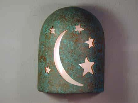 """9"""" Hood (Dark Sky) - Moon-n-Stars Design in Raw Turquoise color - Indoor/Outdoor"""