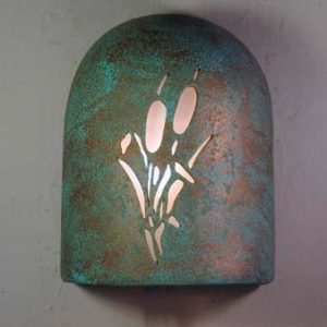Hood (Dark Sky)-Cattails Design-Raw Turquoise color-Indoor/Outdoor
