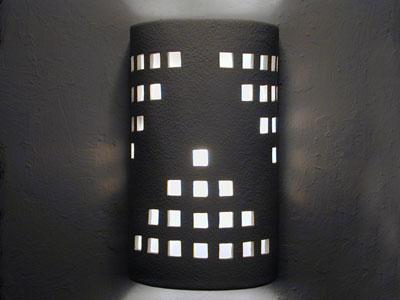 Open Top Wall Sconce with Grid Design in White Solid color-Indoor/Outdoor