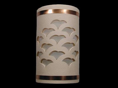 Open Top-Gingko Design and Copper Metal Bands-Cream color-Indoor/Outdoor