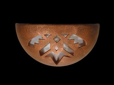 Small Bowl Up Light Sconce - Shards Design, in Antique Copper color - Indoor/Covered Outdoor