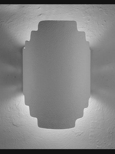 Architectural-Stair Step Hand Cut Lighting Fixture-Unfinished Bisque-Indoor/Outdoor- Open Top Wall Sconce