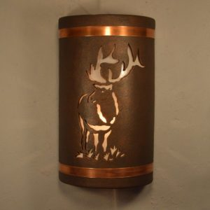 "14"" Open Top - Elk Design w/Copper Bands, in Antique Copper Color - Indoor/Outdoor"