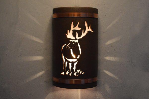 """14"""" Open Top - Elk Design w/Copper Bands, in Antique Copper Color - Indoor/Outdoor"""