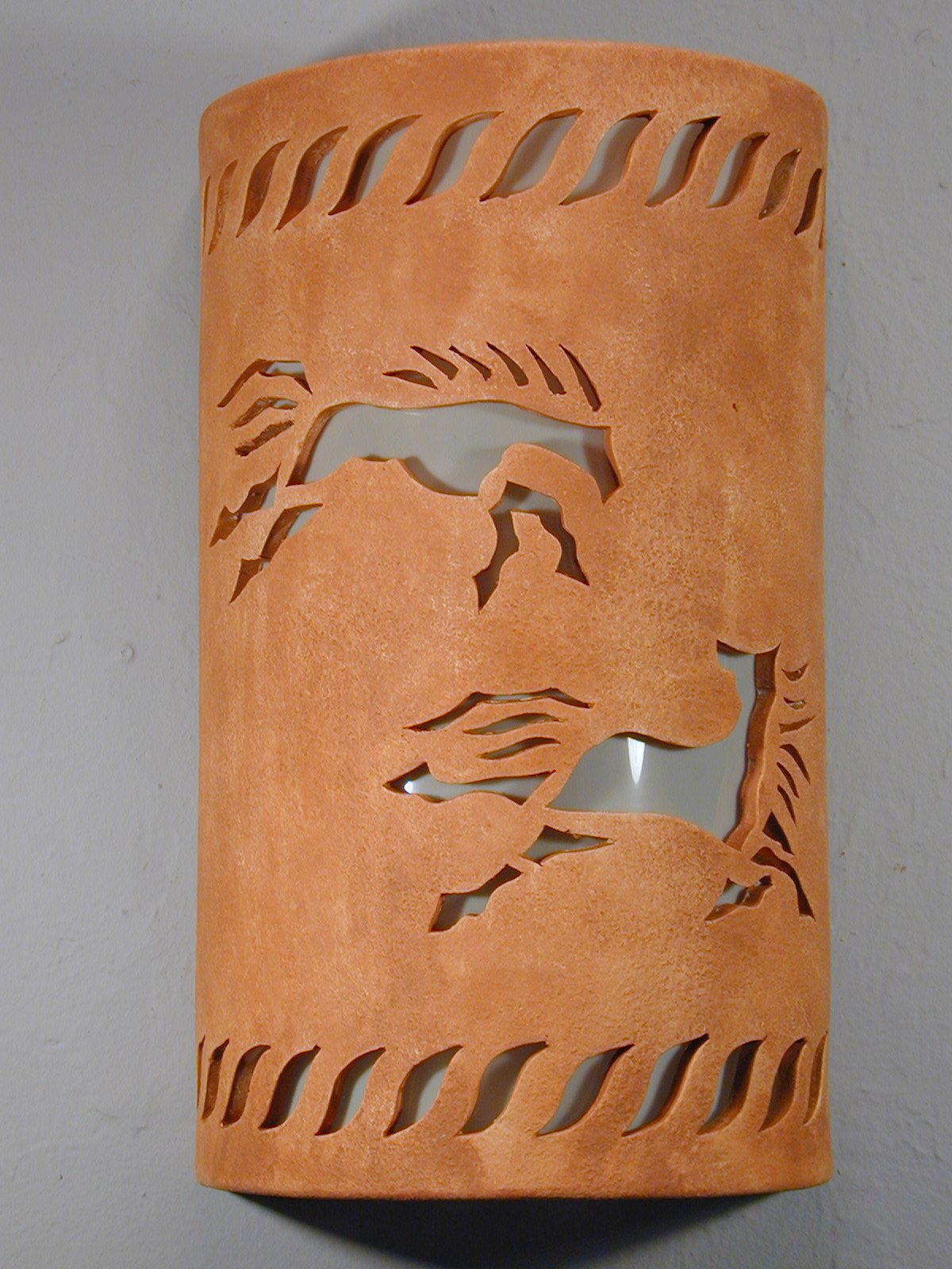 Wild Horses-Rope Border-Clay Wash-Indoor-Outdoor-14″ Open Top Half Round Wall Sconce-Southwestern Light
