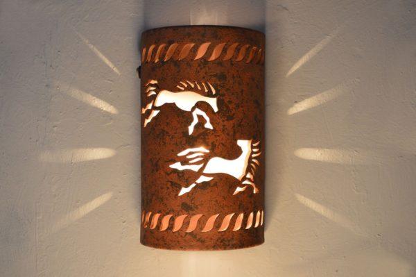 "14"" Open Top - Wild Horses w/Rope Border designs, in Clay Wash color - Indoor/Outdoor"