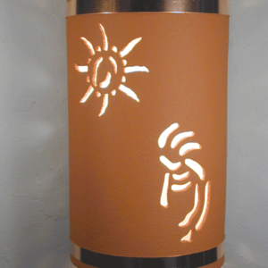 "14"" Open Top - Kokopelli w/Ancient Sun Designs & Copper Metal Bands, in Terracotta color - Indoor/Outdoor"