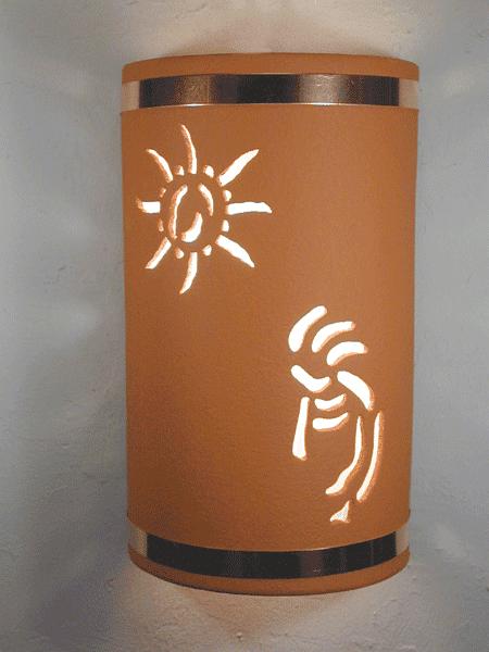 """14"""" Open Top - Kokopelli w/Ancient Sun Designs & Copper Metal Bands, in Terracotta color - Indoor/Outdoor"""