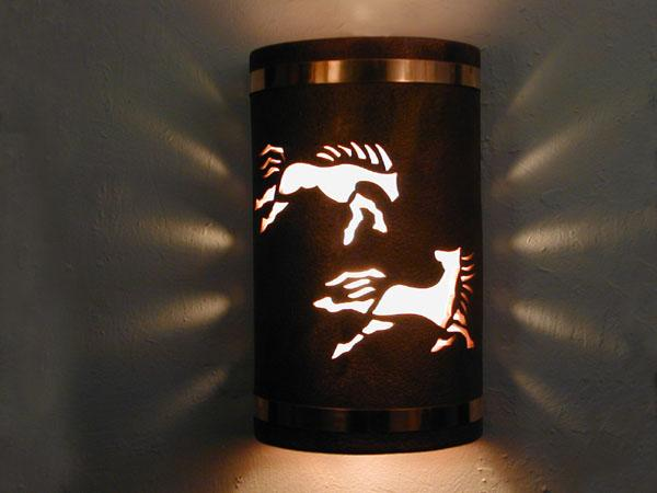 "14"" Open Top - Wild Horses Design, w/Copper Metal Bands in Antique Copper color - Indoor/Outdoor"