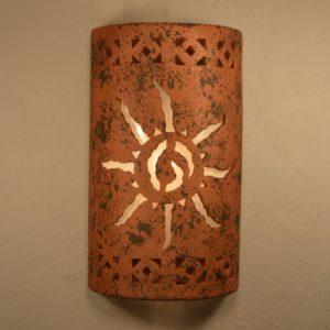 "18"" Open Top - Southwest Ancient Sun center w/Monterey Border Designs in a Copper Brick Color-Indoor/Outdoor"