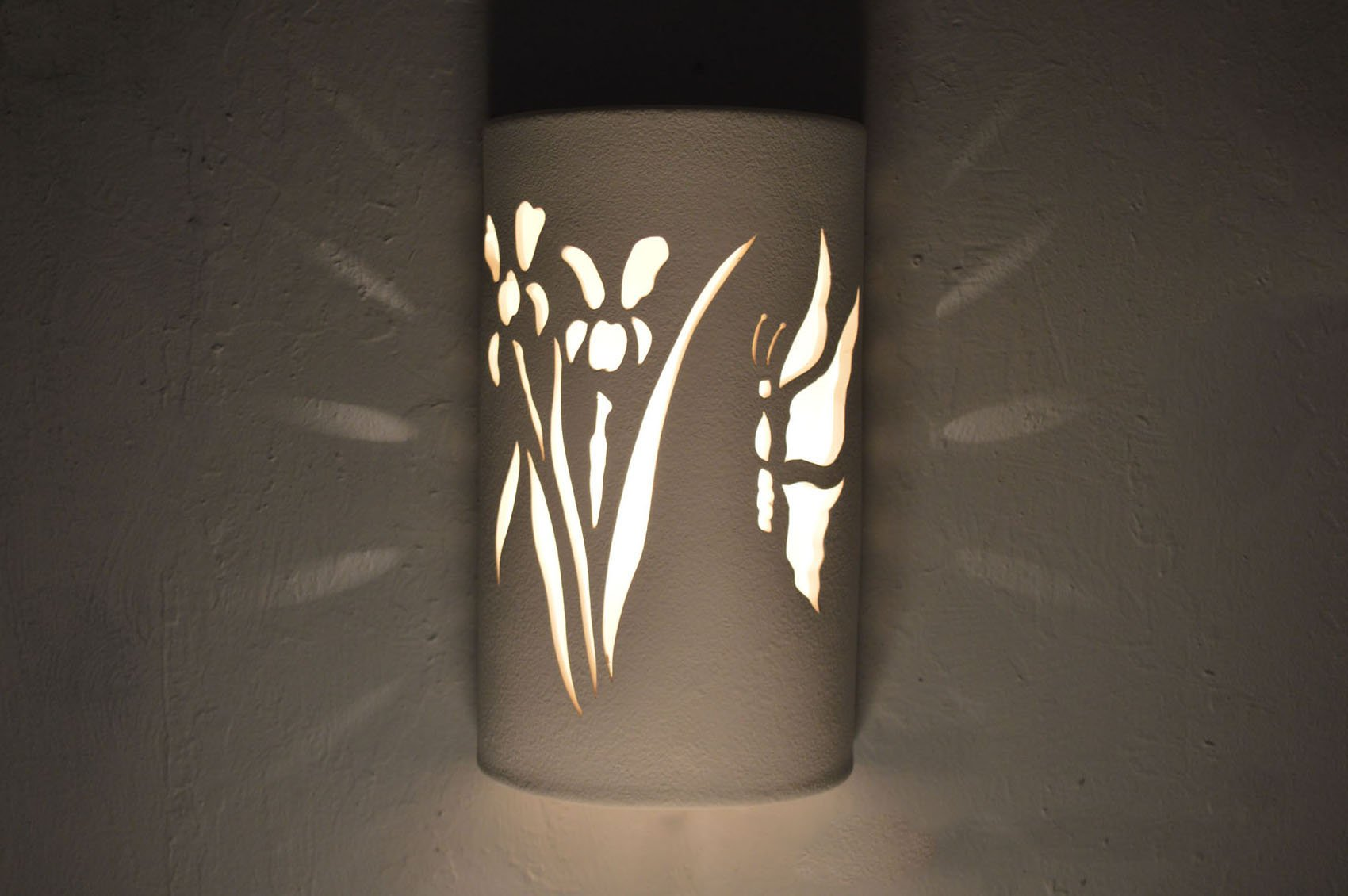 Closed Top-Dark Sky-Butterfly-Iris-Flower-Wall Sconce-White-Custom-Handcrafted-Porch-Indoor-Outdoor