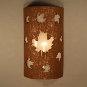 Closed Top-Dark Sky-Maple Leaves-Rustic-Custom-Porch-Garage-Light-Wall Sconce-Indoor-Outdoor