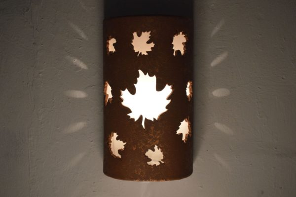 Closed Top-Dark Sky-Maple Leaves-Rustic-Custom-Porch-Garage-Light-Wall Sconce-Indoor-Outdoor