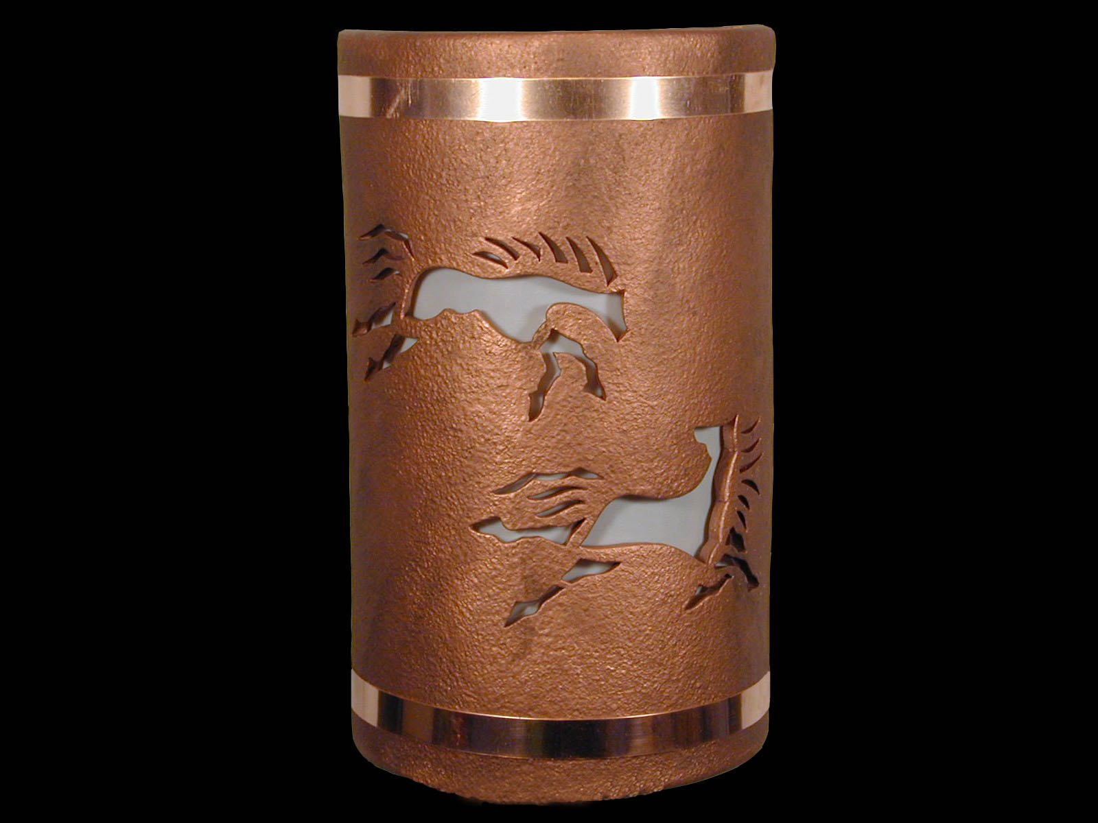 "Wild Horses-Copper Bands-Antique Copper-Indoor-Outdoor-14"" Open Top Half Round-Southwestern Style Wall Sconce"