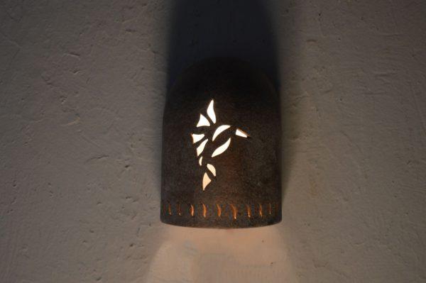 "8"" Hood (Dark Sky) Wall Sconce w/Hummingbird and Wind designs, in Copper Wash color - Indoor/Outdoor"