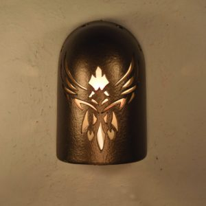 "8"" Hood Wall Sconce - With Phoenix Design, in Anodized Bronze - Indoor/Outdoor"