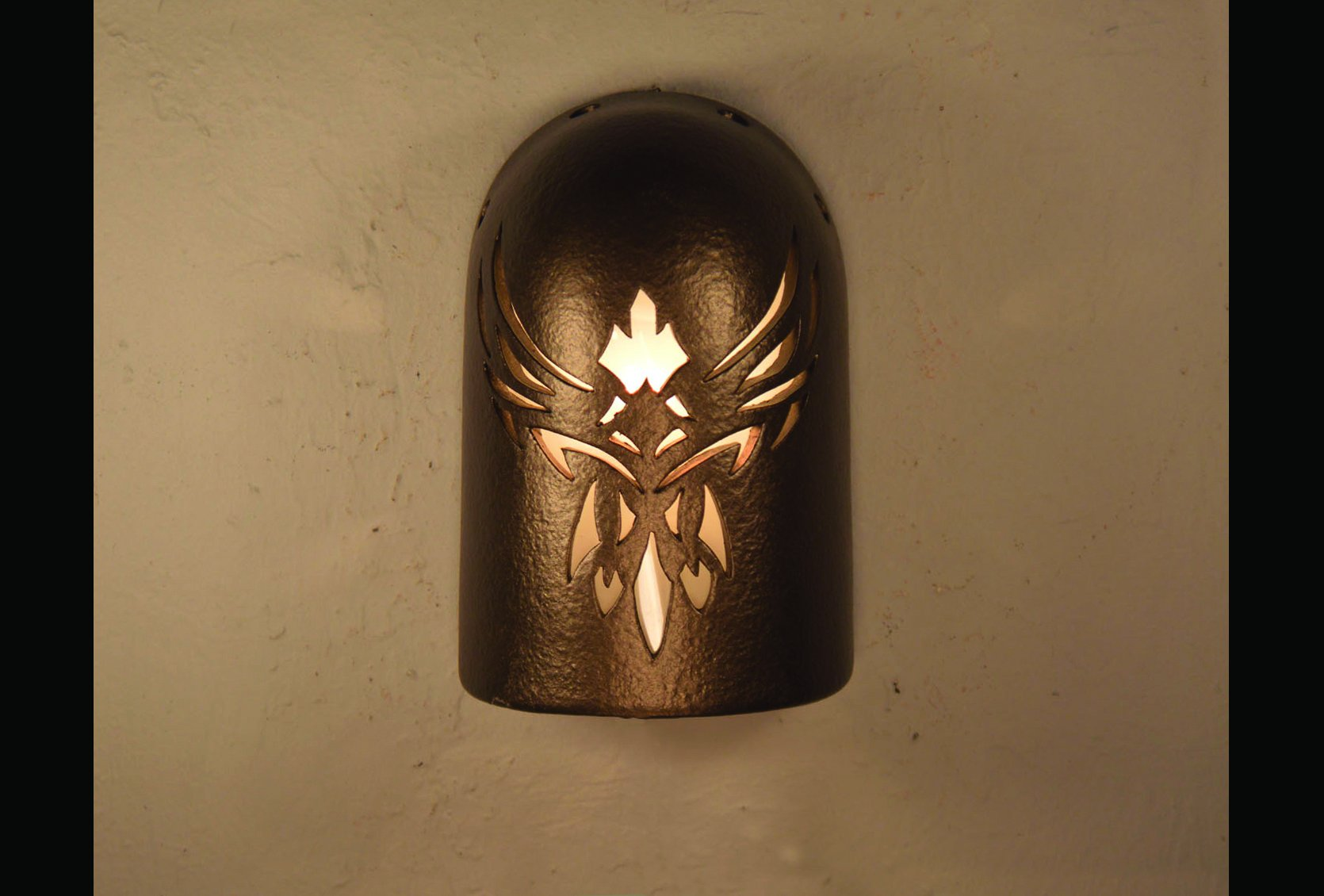 """8"""" Hood Wall Sconce - With Phoenix Design, in Anodized Bronze - Indoor/Outdoor"""