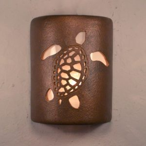 "9"" Ocean Turtle design in Antique Copper for the Tropical or Coastal Indoor or Outdoor Style-Open Top Wall Sconce"