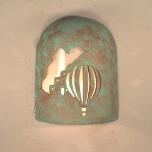 "9"" Hood (Dark Sky) - Pueblo Balloon Design, in Raw Turquoise Color - Indoor/Outdoor"