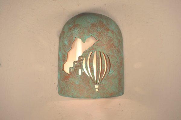 """9"""" Hood (Dark Sky) - Pueblo Balloon Design, in Raw Turquoise Color - Indoor/Outdoor"""