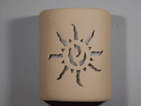 """9"""" Open Top - Ancient Sun Design, in Tan color - Indoor/Outdoor"""