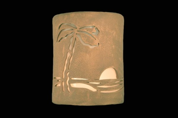 """9"""" Open Top - Paradise Palm Design, in Sand Wash Color - Indoor/Outdoor"""