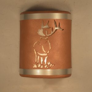"9"" Open Top - Elk design, Top and Bottom Stainless Steel bands, Rusted Copper Color - Indoor/Outdoor"