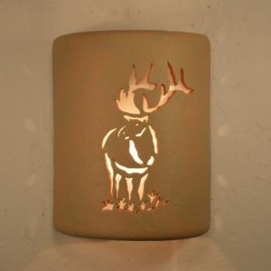 "9"" Open Top - Elk Design, in Terracotta Olive Color - Indoor/Outdoor"