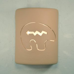 "9"" Open Top - Southwest Spirit Bear Design Wall Sconce in Brown Solid Color - Indoor/Outdoor"