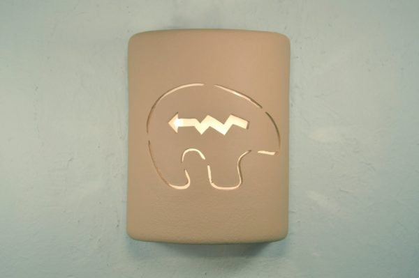 "9"" Open Top - Southwest Spirit Bear Design Wall Sconce in Brown Solid Color - Indoor/Outdoor"