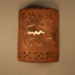 "9"" Open Top - Southwest Spirit Bear, with Monterey Border designs in Copper Brick color - Indoor/Outdoor"