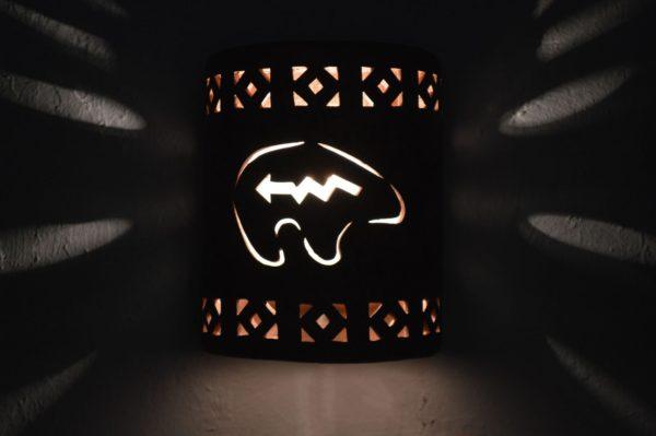 """9"""" Open Top - Southwest Spirit Bear, with Monterey Border designs in Copper Brick color - Indoor/Outdoor"""